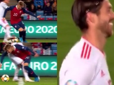Odegaard beat Ramos with a spectacular nutmeg. Captura/TVE