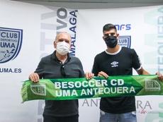 Ramón Vargas, nuevo jugador del BeSoccer UMA Antequera. Twitter/UMAAntequera