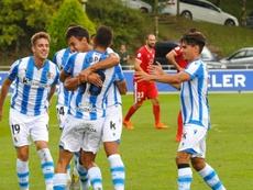 Roberto López fue clave en la victoria ante el Guijuelo. Twitter/RealSociedad