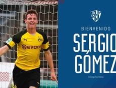 Sergio Gómez llega cedido del Borussia. Twitter/SDHuesca