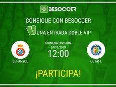 Consigue una entrada doble VIP para el Espanyol-Getafe. BeSoccer