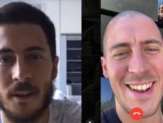 Eden Hazard pasó de una barba amplia a un rapado completo. Captura/EdenHazard/RTBF