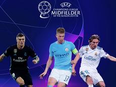 Nominados a mejor centrocampista de la Champions 2017-18. Twitter/ChampionsLeague