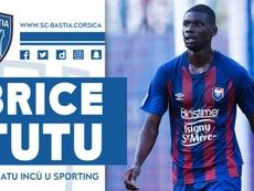 Brice Tutu llega cedido al Bastia. Twitter/SCBastia