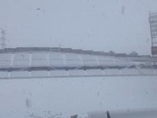 Getafe's stadium totally snowed over. GetafeCF