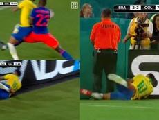 Neymar terminó empotrado contra la valla publicitaria. Captura/DAZN
