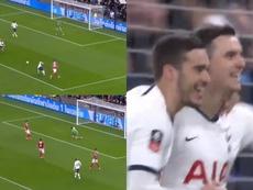 Lo Celso a marqué à la 2e minute de jeu. Capture/EmiratesFACup