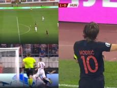 Modric adelantó a Croacia con una excelsa definición. Captura/UEFA