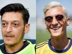 Aubameyang likens Ozil's newest hairstyle to Rapinoe's famous purple locks. Twitter/Copa90