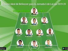 Imagen del once ideal de la jornada 6 de Primera 2019-20. BeSoccer