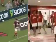 Filipe evita pisar siempre el escudo, como hacía en el Atlético. Capturas/SouDaNacao