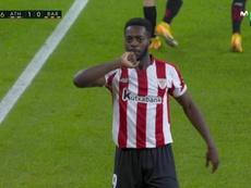 Inaki Williams put Athletic Bilbao ahead. Screenshot/MovistarLaLiga