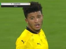 Jadon Sancho adelantó al Borussia Dortmund frente al MSV Duisburg. Captura/ESPN