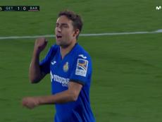 Jaime Mata transformó un penalti polémico de De Jong. Captura/MovistarLaLiga