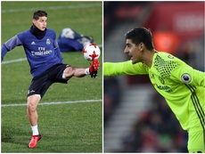 James (L) could be involved in a swap deal with Chelsea's Thibaut Courtois. BeSoccer