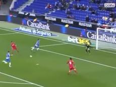 Jorge Molina falló una clara ocasión ante el Espanyol. Captura/beINSports