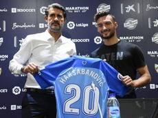 José Luis Pérez Caminero and Sead Haksabanovic, at his presentation as a Málaga player. BeSoccer