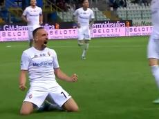 El primer gol de Ribéry en el fútbol italiano. Captura/Sky