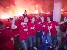 Pamplona salió a la calle para festejar el ascenso. Osasuna
