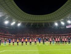 La afición del Athletic ya piensa en Sevilla. Twitter/Athletic