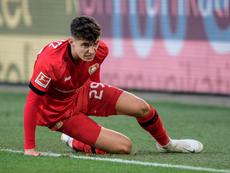 Havertz se lesionó ante el Wolfsburgo. Twitter/Bayer04fussbal