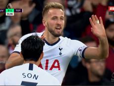 Sissoko faz fila e Kane coloca o Tottenham na frente. Captura/ESPN