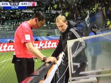 The referee consulted video technology before awarding a penalty. Twitter/TDP