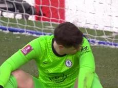 Kepa falló en el gol del Luton. Captura/Twitter/EmiratesFACup