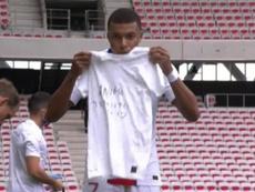 Mbappé se acordó de Berat tras marcar al Niza. Twitter/vamos