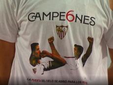 El Sevilla tampoco se olvido de Puerta y Reyes. Captura/MovistarLIgadeCampeones