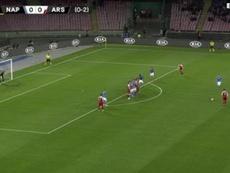Lacazette silenció San Paolo con un buen lanzamiento de falta. Captura/RMCSports