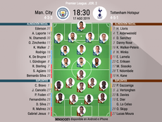 Los onces oficiales de City-Tottenham. BeSoccer