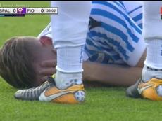 Las botas de Francesco Vicari, agujereadas en la parte del talón. Twitter