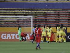 Las jugadores de Atlético Huila celebran un gol en la Copa Libertadores. Twitter/Libertadores_F