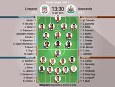 Le formazioni iniziali di Liverpool-Newcastle. BeSoccer