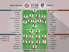 Le formazioni ufficiali di Bayern-Atletico Madrid. BeSoccer