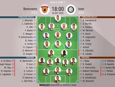 Les compos officielles du match de Serie A entre Benevento et l'Inter Milan. BeSocccer