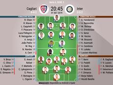 Le formazioni ufficiali di Cagliari-Inter. BeSoccer