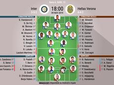 Le formazioni ufficiali di Inter-Verona. Twitter/Inter