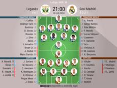 Le formazioni ufficiali di Leganes-Real Madrid. BeSoccer