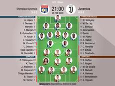Le formazioni ufficiali di Lione-Juventus. BeSoccer