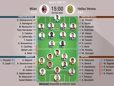 Le formazioni ufficiali di Milan-Verona. BeSoccer