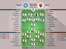 Les compos officielles du match de Serie A entre Naples et la Roma. BeSoccer
