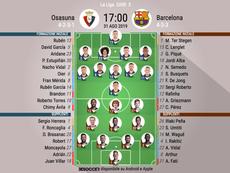 Le formazioni ufficiali di Osasuna-Barcellona. BeSoccer
