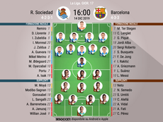 Le formazioni ufficiali di Real Sociedad-Barcellona. BeSoccer