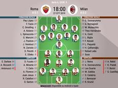 Le formazioni ufficiali di Roma-Milan,. BeSoccer