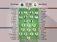 Le formazioni ufficialil di Club Brugge-Real Madrid. BeSoccer