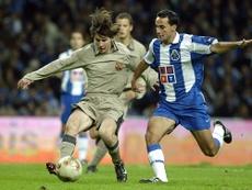 Messi fez a sua estreia contra o Porto. FCBarcelona