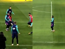 Messi trains ahead of Bilbao match. Screenshots/RFEF