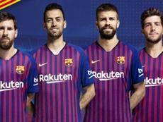 eo Messi, Sergio Busquets, Gerard Piqué e Sergi Roberto, 2017-18. FCBarcelona
